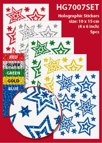 "5-Sheet Assorted Stars 4x6"" Holographic HG7007SET Gold Blue Green Red Stickers Set Peel"