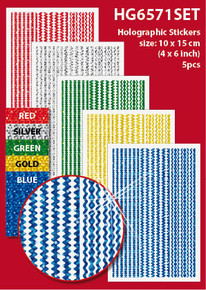 "Assorted Borders 4x6"" Holographic HG6571SET Gold Blue Green Red Stickers Set Peel"