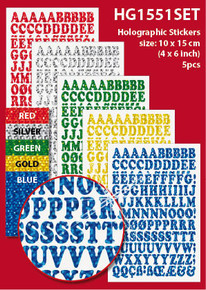 "5-Sheet UC Alphabet 4x6"" Holographic HG1551SE Silver Gold Blue Green Red Letter Stickers Set Peel"