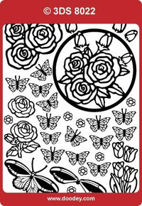 3DS8022 Gold Butterflies and Roses Peel off Stickers 1-sheet
