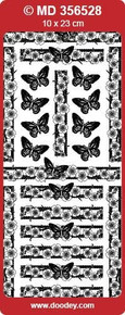 MD356528 Butterfly Blossom Borders Double Embossed Etched Asian Peel Stickers One 9x4 Sheet