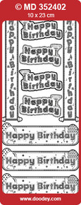 TEXT LABELS Gold Transparent MD352402 Happy Birthday Double Embossed Etched Peel Stickers One 9x4 Sheet