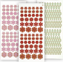 HOTP Dazzles 3-Pack Red Tiny Flowers Stickers 2488 Holographic & Pearl & Green Mirror Leaves Peel Style Outline Stickers