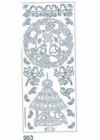 Starform BIRD WREATH N963 SILVER Peel Stickers OUTLINE