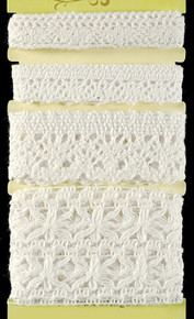 Petaloo Crochet White Ribbon Fancy Trims Pack 4-Per Pack