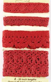 Petaloo Crochet Red Ribbon Fancy Trims Pack 4-Per Pack