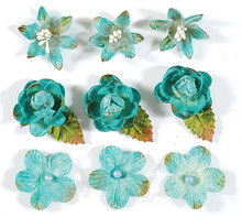Petaloo 3-D Teal Blossoms Flowers Textured Elements 9-Per Pack