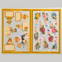 Mamelok Scrap Reliefs Hands & Children Golden Embossed & Die Cut Images 2 Sheets