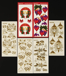 Match-It Doodey 3-D Christmas Book Paper and Stickers Set Gold Double Embossed Peel Stickers & Prints for 8 Cards