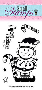 HOTP Clear Stamps Small HAPPY ELF 1125 Acrylic Tis the Seasson to be Jolly!