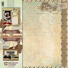 HOTP Double-Sided Stolen Moments Paper Pack Vintage Style 12pc 12x12