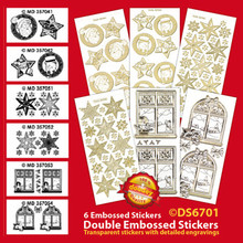 "Silver Christmas images Double Embossed Peel Stickers 9x4"" Sheet"
