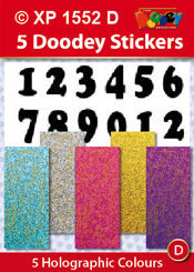 5-Sheet XP1552D SOFT Numbers Holographic Greeting Silver Gold Sky Blue Purple Pink Letter Stickers Set Peel