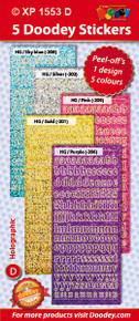 5-Sheet XP1553D SOFT LC Alphabet Holographic Greeting Silver Gold LT Blue Purple Pink Letter Stickers Set Peel