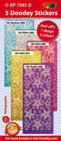 5-Sheet XP7085D SOFT Nested Stars Holographic Lt Blue Gold Silver Pink Purple Stickers Set Peel