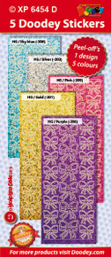 5-Sheet XP6454D SOFT Bows Holographic Lt Blue Gold Silver Pink Purple Stickers Set Peel