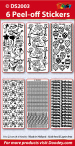 Birthday Sticker Set Party SILVER Roses Balloons, Bows Borders/Corners Happy Birthday