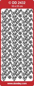 DD2432 Happy Birthday SILVER Peel-Off Outline Metallic Style Sticker