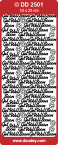 DD2501 Get Well Soon GOLD Peel-Off Outline Metallic Style Sticker