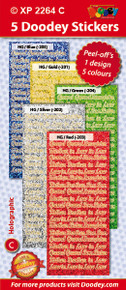 5-Sheet XP2264C BRIGHT  Grand in Law Family Words Holographic Greeting BLUE GOLD GREEN SILVER RED Word Stickers Set Peel