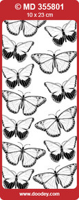MD355801 BUTTERFLIES Small Gold Double Embossed Peel Stickers One 9x4 Sheet