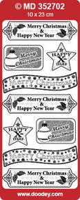 VERSES TEXT LABELS Silver CHRISTMAS MD352702 Peel Stickers Labels One 9x4 Sheet