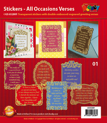 VERSES Gold N01 All Occasion GS652801 Peel Stickers One Sheet with 6 Stickers