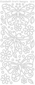 ELIZABETH CRAFT BUTTERFLIES LG 2STICKY N0412 Peel Off Stickers OUTLINE