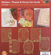 VERSES Gold N81 Poems & Verses for Cards GS652881 Peel Stickers One Sheet with 6 Stickers
