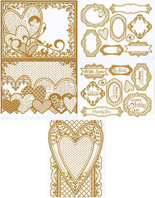 Color Me Gold Heart Card Toppers 7061 SM Paper Pack by HOTP