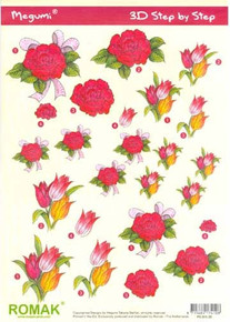 Pre-Cut Step-by-Step Sheet P0-001-35 Red Flowers