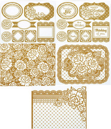 Color Me Gold Rose Card Toppers 7063 SM Paper Pack by HOTP