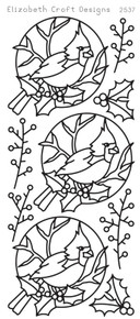 ELIZABETH CRAFT Cardinal Bird SILVER N2537 Peel Off Stickers OUTLINE