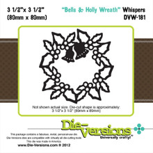 Die-Versions DVW-181 BELLS & HOLLY WREATH Cutting Die
