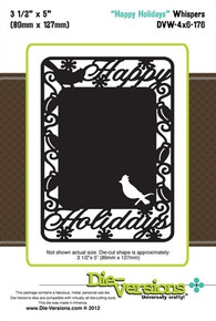 Die-Versions DVW-4x6-176 HAPPY HOLIDAYS Whispers Cutting Die