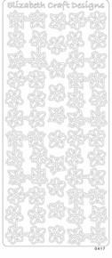 ELIZABETH CRAFTS CORNERS FLOWERS SILVER N0417 Peel Stickers