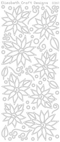 ELIZABETH CRAFT POINSETTIAS DAISIES GOLD 0361 Peel Off Stickers OUTLINE