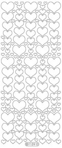 Starform GLITTER GOLD-SILVER N1139 HEARTS Stickers Peel Outline