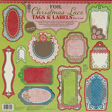 HOTP Foil Christmas Lace Tags & Labels Die Cuts 26pc on 2 sheeets 3402