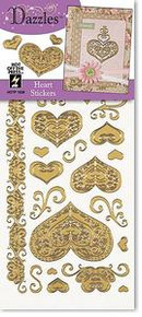 HOTP Dazzles Heart SPECIAL PURCHASE Outline Stickers GOLD 1836