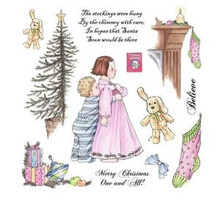 ADORABLES - WAITING - Unmounted Christmas Children Rubber Stamp Sheet Set