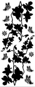 Peel Off FLORAL SILHOUETTE N24 SILVER ETCHED-LOOKING Outline Sticker