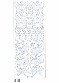 Starform BUTTERFLIES SILVER N818 Peel Stickers OUTLINE