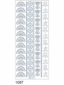 Starform ASIAN ICONS 1087 SILVER Peel Stickers OUTLINE ORIENTAL
