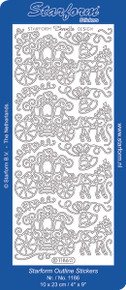 Starform HORSE & CARRIAGE 1186 SILVER Peel Stickers OUTLINE WEDDING PRINCESS