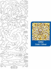 Starform DOLPHINS 7027 GLITTER GOLD  Peel Stickers OUTLINE