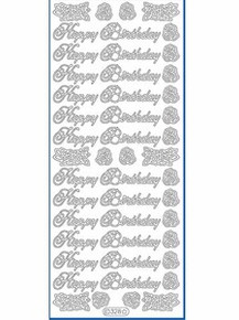 Starform N328 GOLD HAPPY BIRTHDAY Outline Peel Sticker