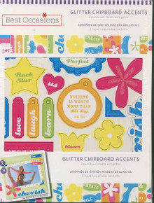 Glitter Chipboard Embellishments Cards Scrapbooking