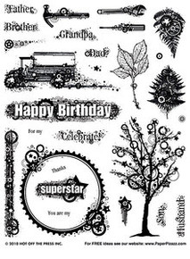 HOTP Masculine Collage Rubber Stamps Unmounted