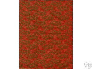 2pc 85x11 Gold Emboss Lace Red Vellum Paper Acid Free